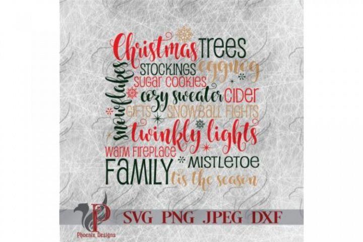 Christmas Words SVG, Christmas Trees, Winter, Snowflakes