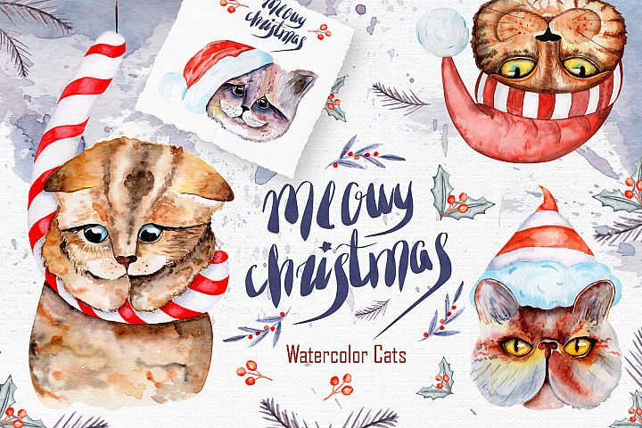 Meowy Christmas Watercolor Collection