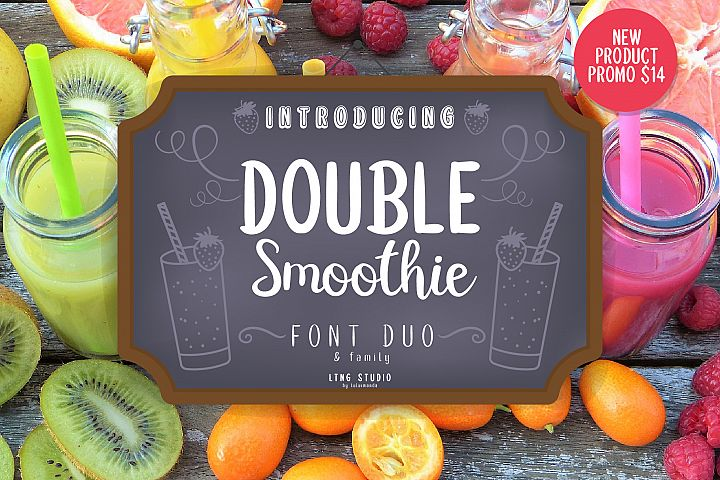 Double Smoothie Font Duo and Family