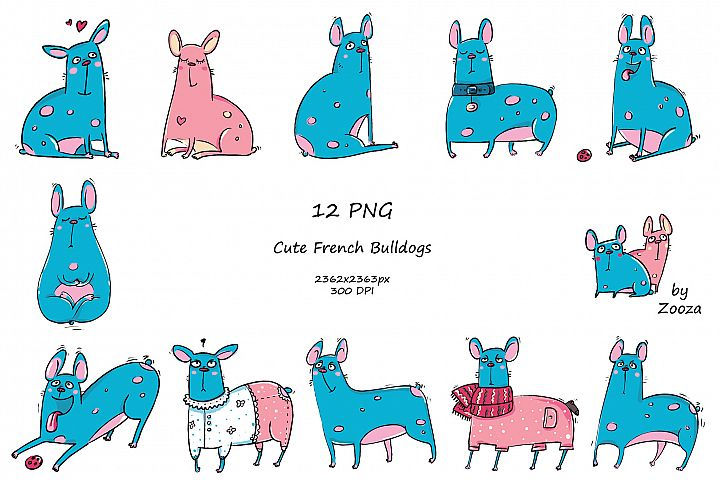 French Bulldogs - sticker pack example 1