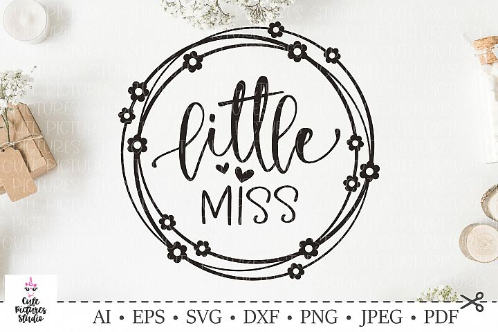 little Miss. Flower wreath. SVG DXF cut file.