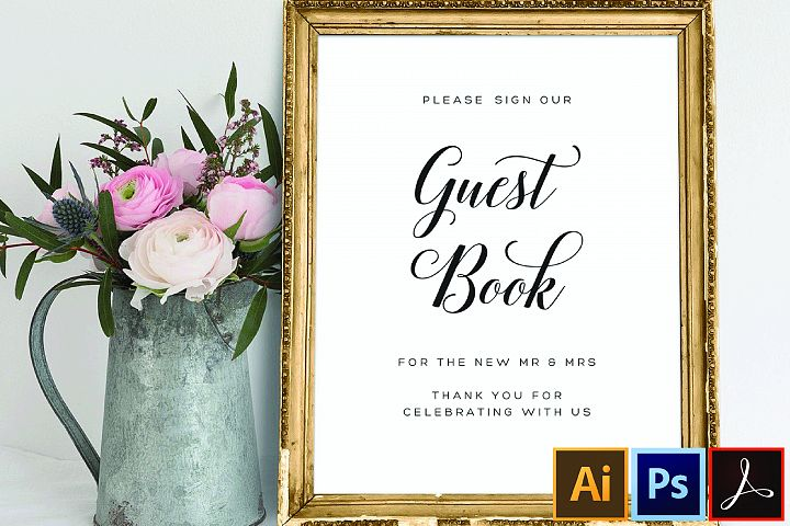 Guest Book Sign Template Wedding Printable Guest Book Sign