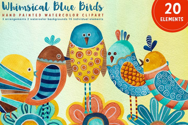 Whimsical Blue Birds Watercolors, PNG