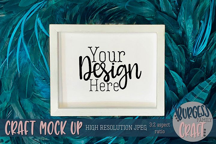 Peacock white wood sign Craft mock up