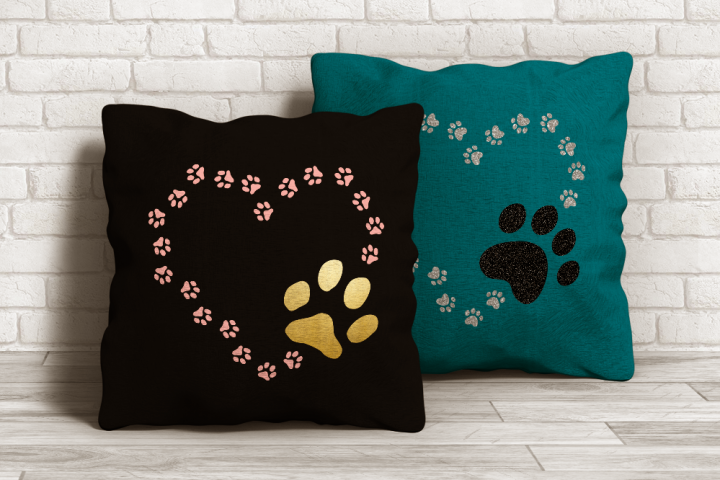 Cat and Dog Paw Print Heart SVG File Cutting Template