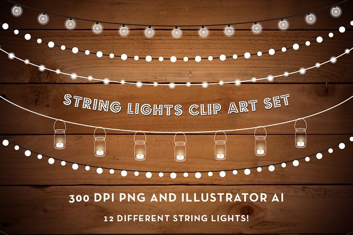 String Lights Clip Art Set - PNG, AI