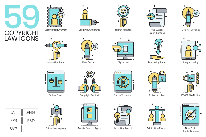 59 Copyright Law Icons