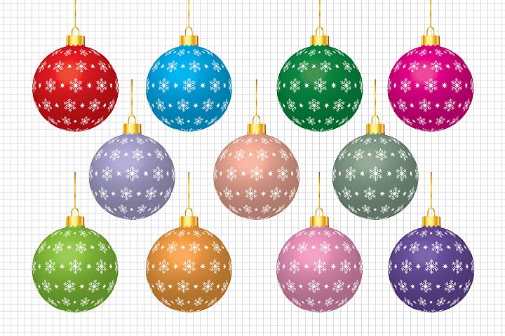 Christmas Balls Clipart, Christmas Graphics and Illustration