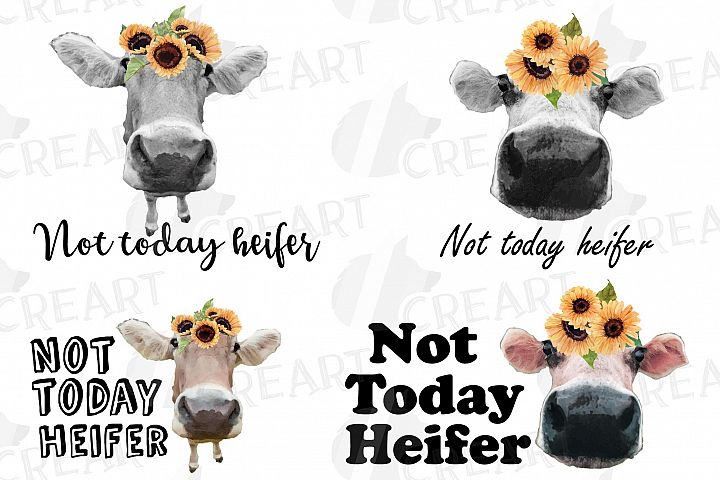 Not today Heifer printable decor graphic. Cow with sunflower