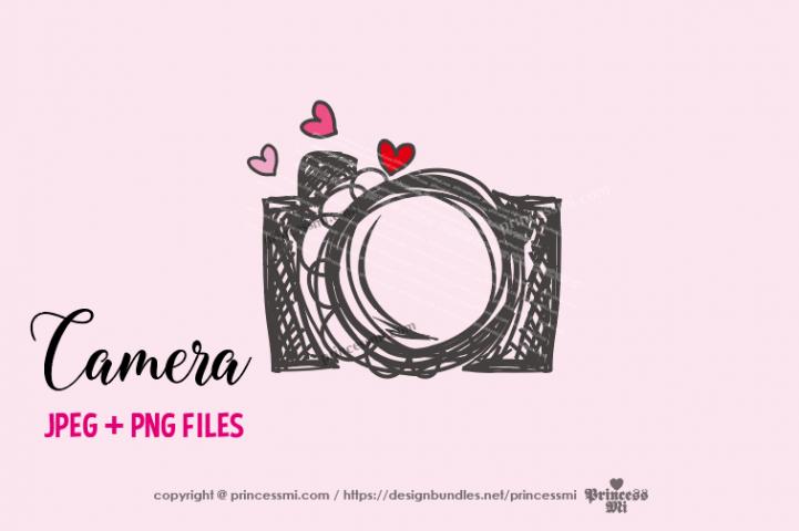 camera clipart - hearts