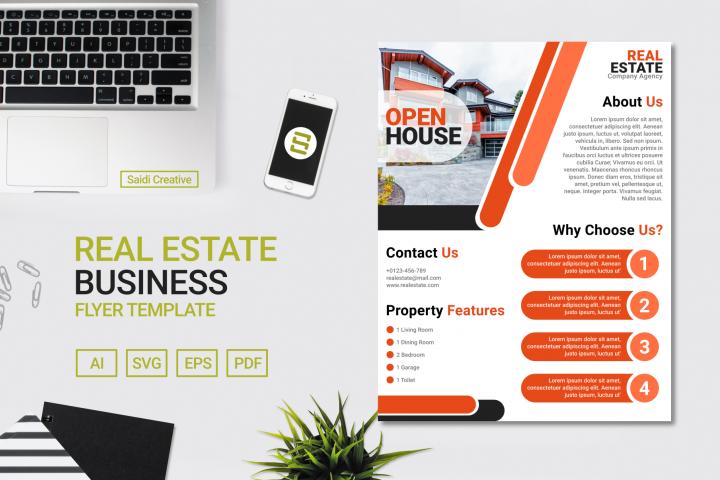 Real Estate Business Flyer Template Design with Orange Color