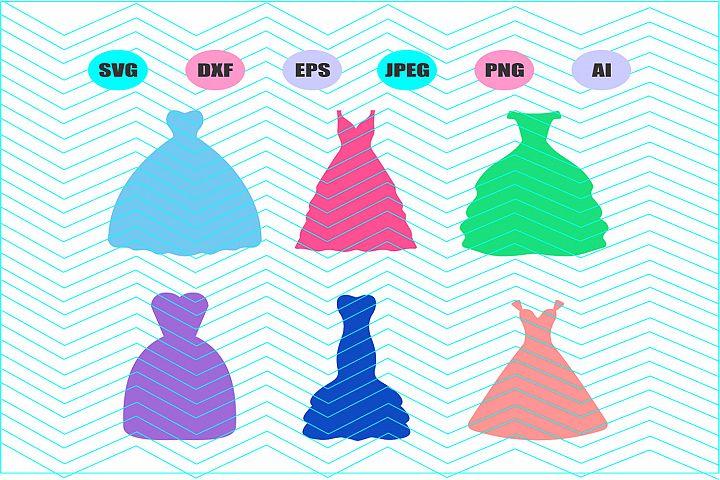Wedding Dress Svg Vector File Silhouette Cricut Design Vinyl