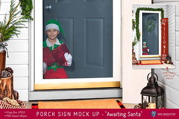 Porch Sign Christmas mock up - Awaiting Santa