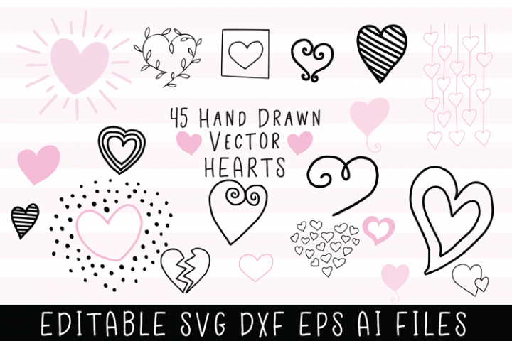 45 Hand Drawn Vector Hearts
