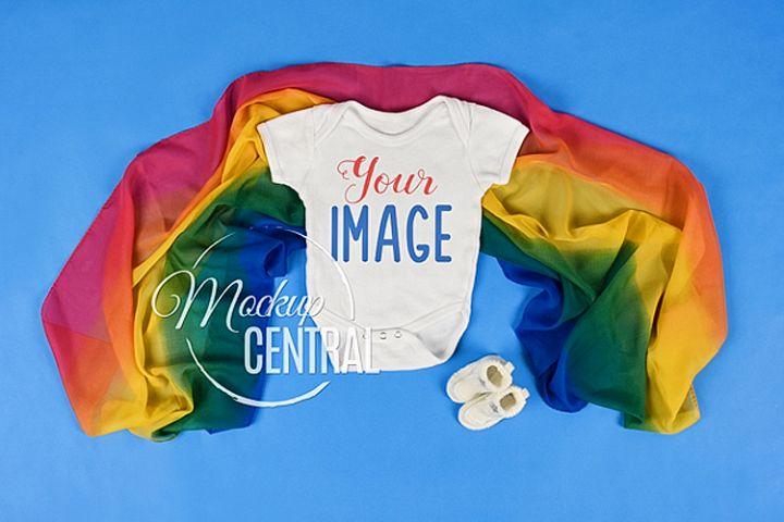 Rainbow Baby White Onepiece Bodysuit Mockup Shirt, JPG