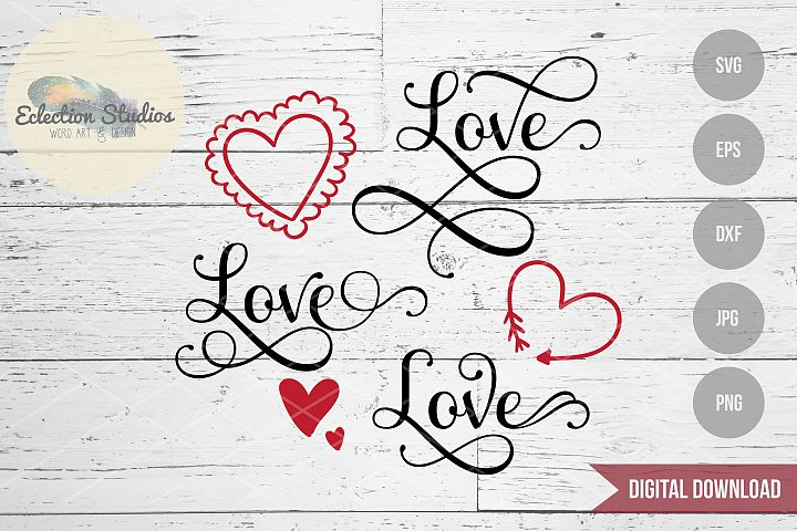 Love and Doodle Hearts Wedding or Valentines Day SVG