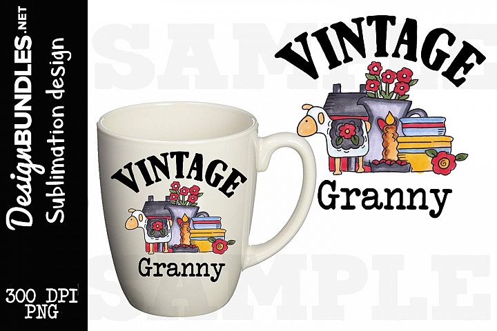 Vintage Granny Sublimation Design