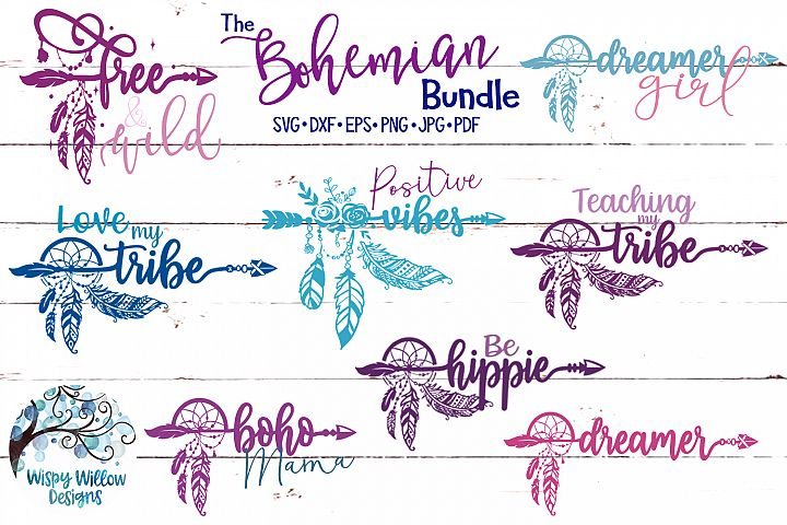 The Bohemian Bundle| Boho Feather SVG Cut Files Bundle
