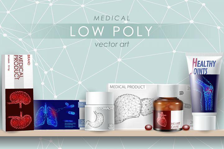 Low Poly Human Organs Vector