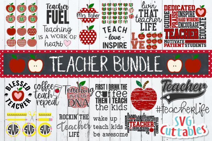 Teacher Bundle  Apple Designs  SVG Cut File