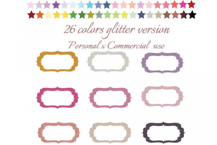 Glitter Labels Clipart, Round labels, Gold, Silver Frames