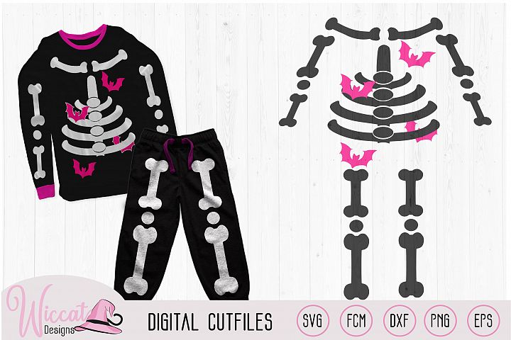 Halloween girls skeleton costume cut file