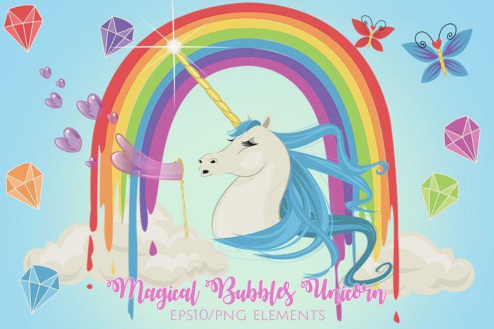 Magical Bubbles Unicorn Graphics