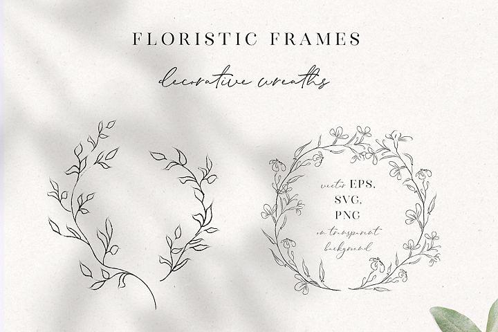 Line Drawing Floral Wreaths, Sprigs , botanicals