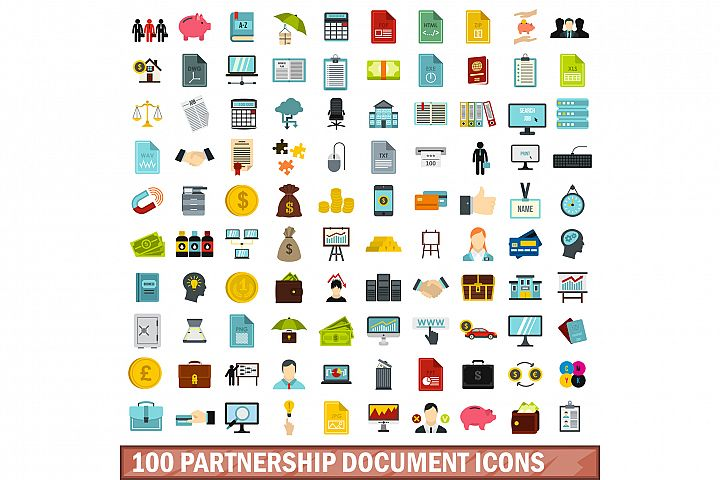 100 partnership document icons set, flat style