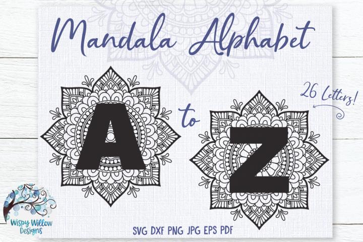 Mandala Alphabet SVG Bundle | A to Z Mandala Letters SVG