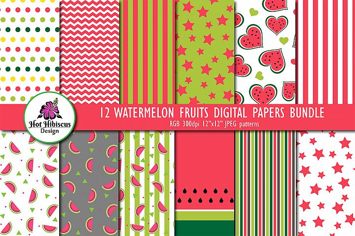 12 Summer Watermelon Fruit Patterns Digital Papers Bundle