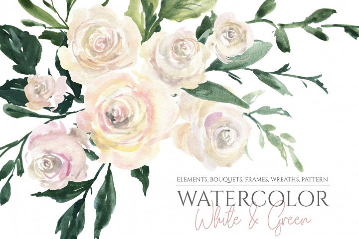 Watercolor White Roses Flowers Bouquets frames Wreaths PNG