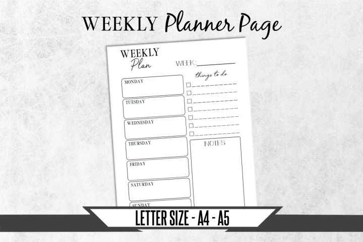 Weekly Calendar Journal Printable Planner Page