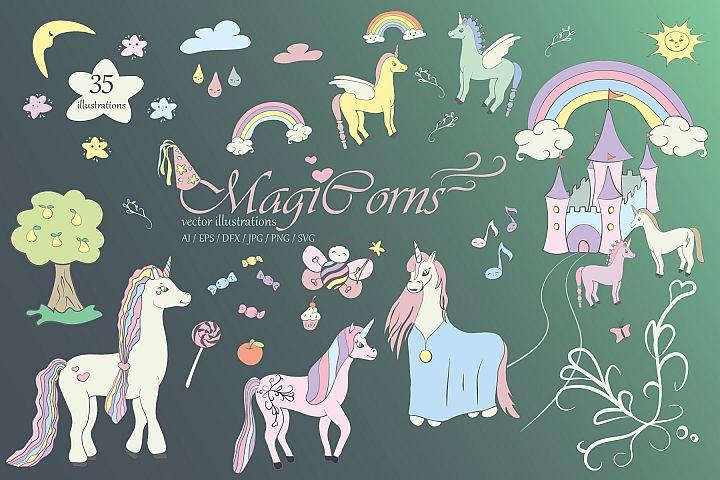 Unicorn Bundles Ai / EPS / SVG / PNG / JPG / DFX - MagiCorns