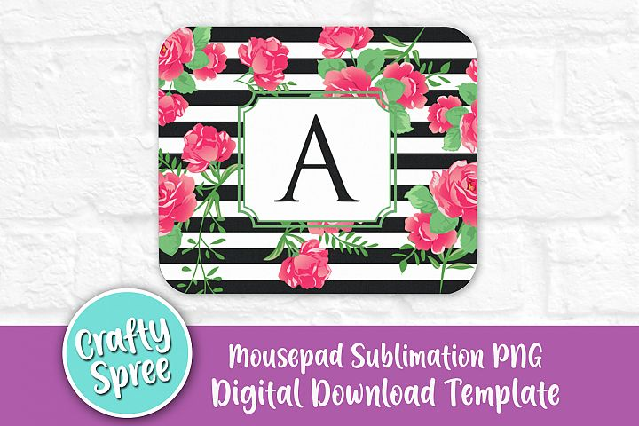 Black White Stripe Floral Mousepad Sublimation Template PNG
