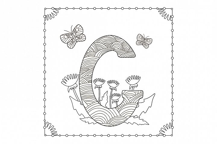 Letter G. Flowers. Coloring page.