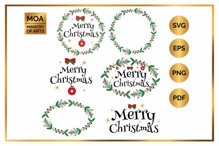 Xmas SVG Elements Vector Decorations Christmas SVG Cutting