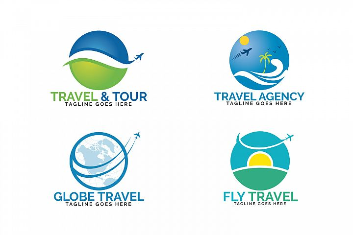Travel logos set design. Ticket agency and tourism sign.