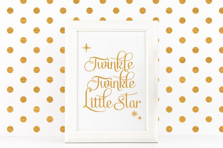 Twinkle Twinkle Little Star Quote Printable Poster Romantic Quote in Gold + SVG files