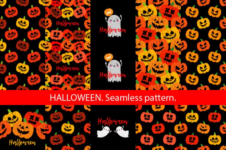 Seamless decorative vector background Happy Halloween.