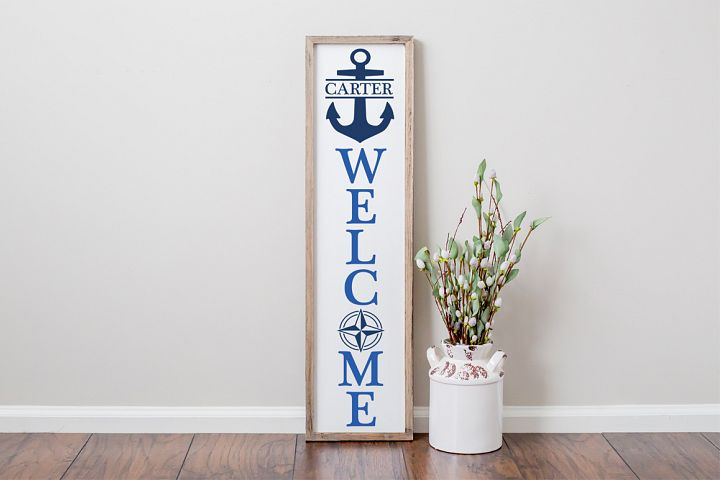 Nautical Front Porch Family Name Sign - Nautical svg