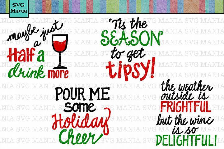 Another Funny Christmas Wine Glass SVG Bundle, Wine SVG File