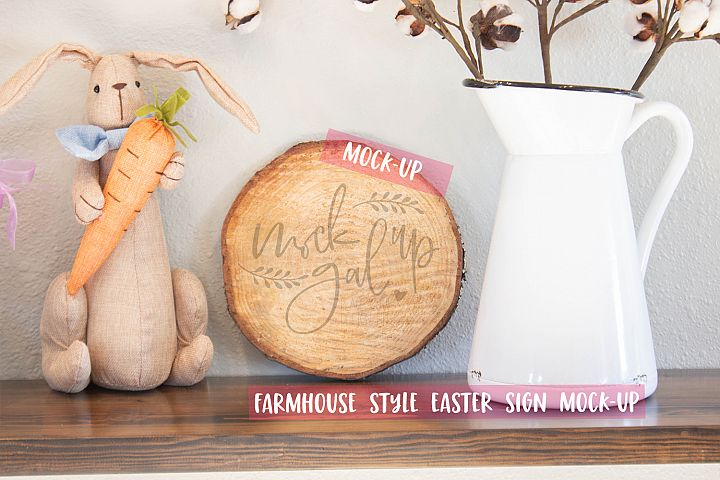 Easter Sign Mock Up - Round Wood Slice No. 4- Spring Mockup