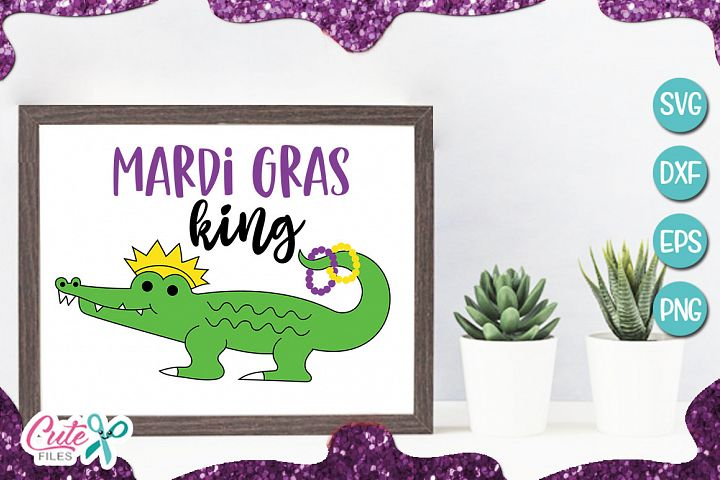 Mardi gras king, Alligartor svg for crafters