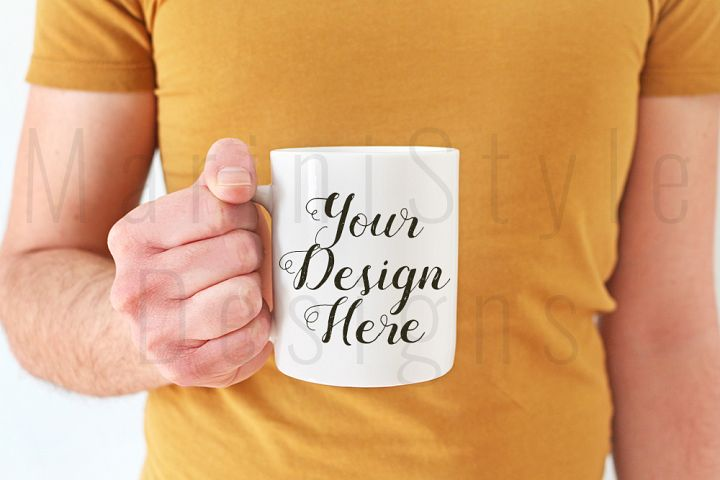 Man with yellow t-shirt holding mug, mockup, male hands, 385