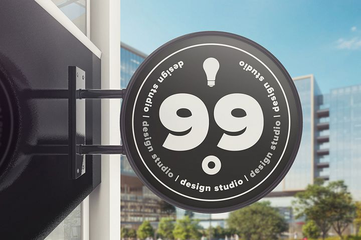 Building Advertising Round Sign Mockup