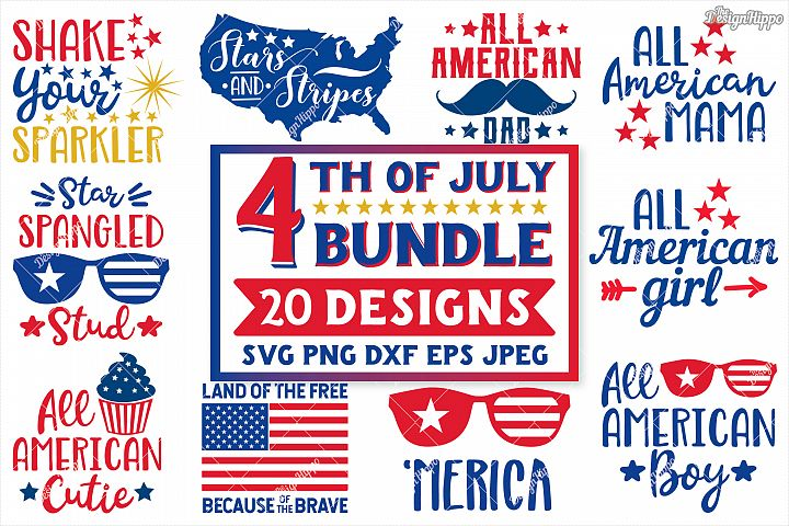 4th Of July SVG Bundle of 20 Designs, DXF PNG EPS Cut Files