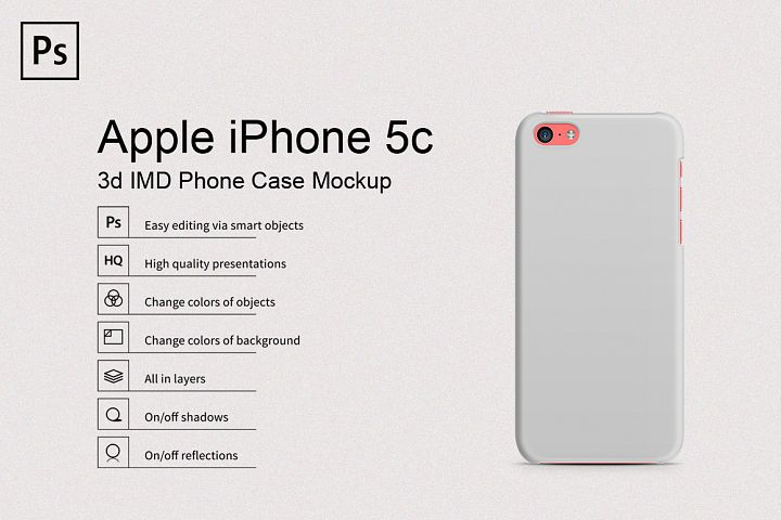 Apple iPhone 5C 3d Phone Case Mockup Back View