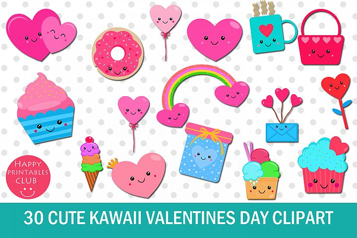 30 Cute Kawaii Valentines Day Clipart- Kawaii Valentines Day
