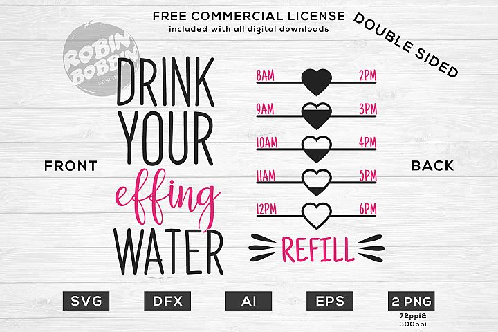 Drink Your Effing Water - Double Sided Water Bottle Tracker